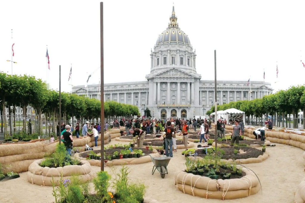Amy Franceschini Victory Garden in front of SF City Hall